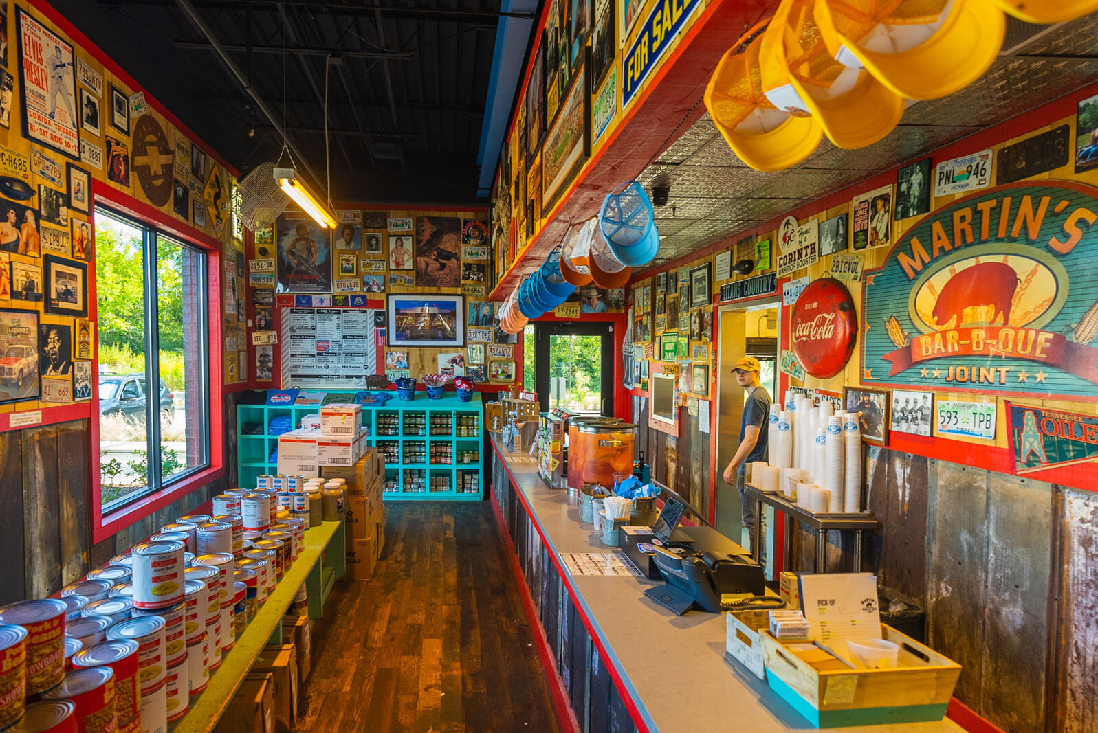 fun and colorful interior of the Original Martin's BBQ Joint in nolensville tennessee