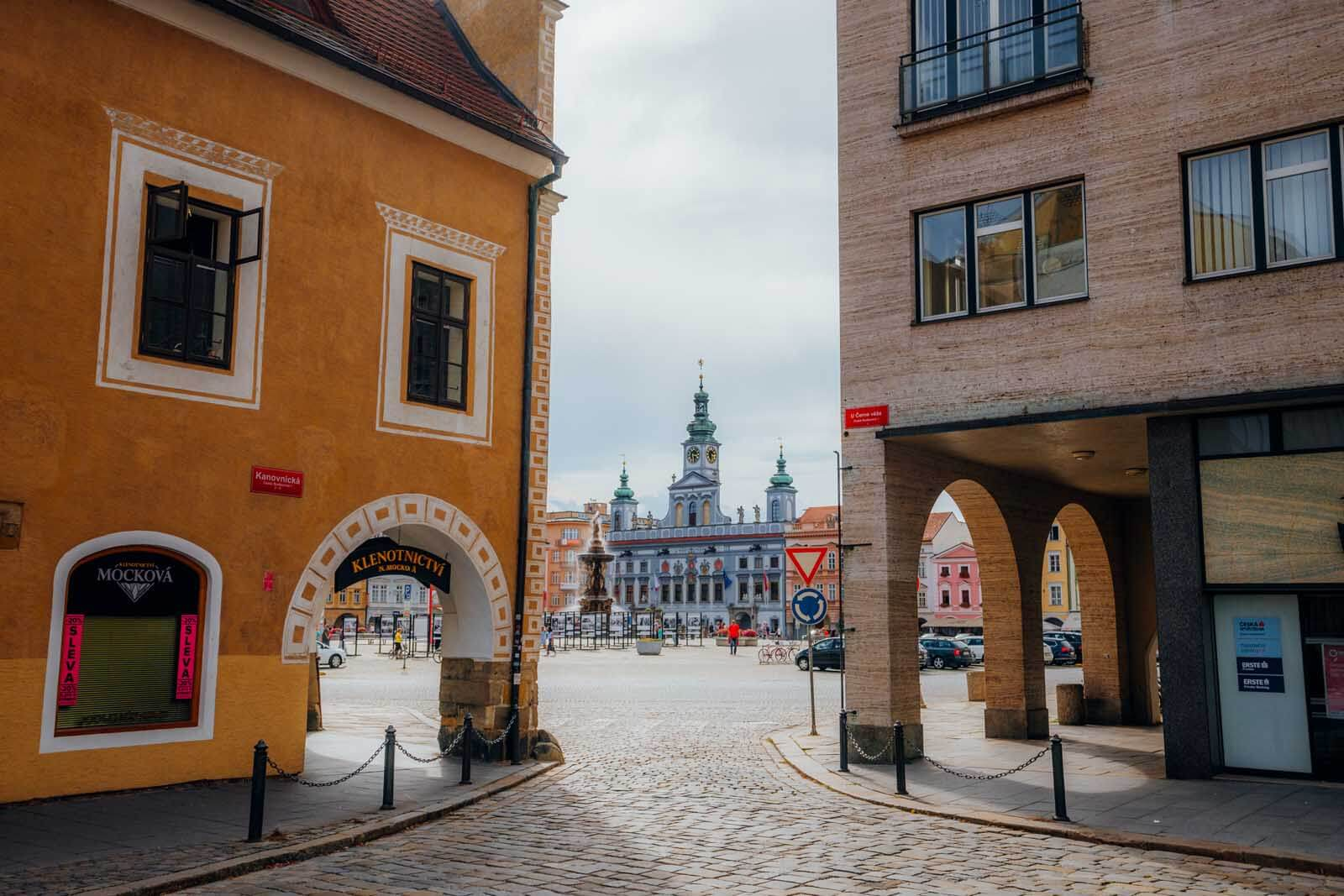 gorgeous view of Town Hall in Ceske Budejovice in the Czech Republic