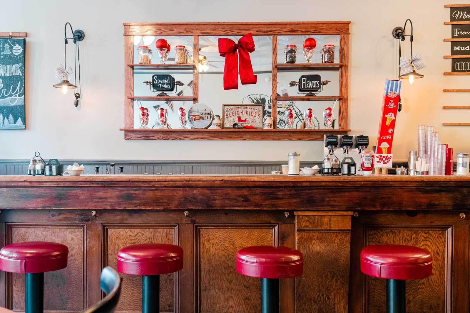 inside the charming diner Crooked Lake Ice Cream Company in Hammondsport New York