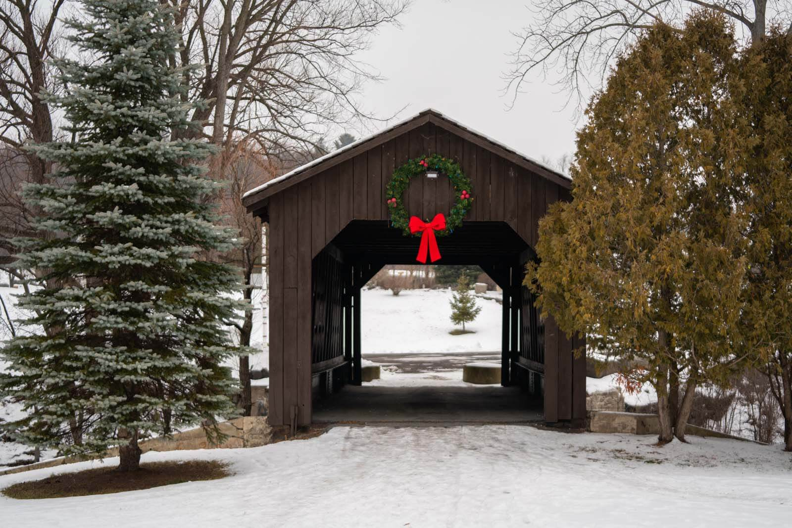 kissing bridge in Ticonderoga covered bridge in new york in the adirondacks