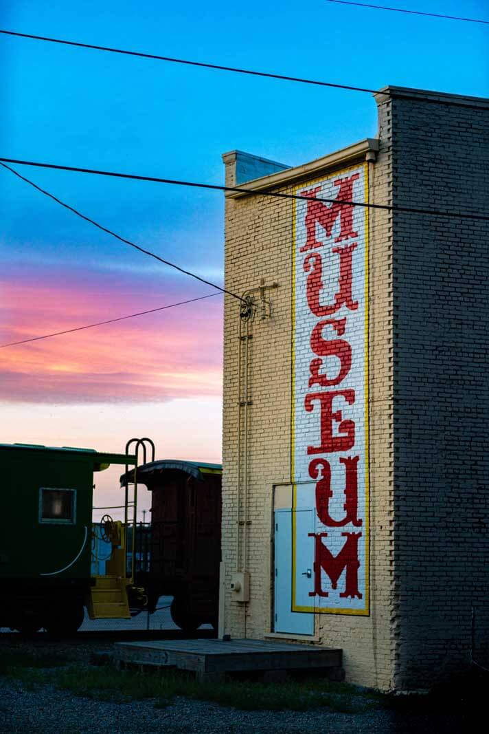 museum at sunset in downtown Minot