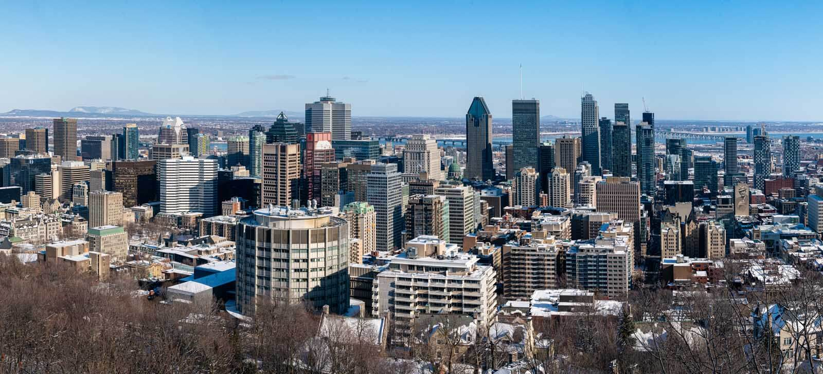 panoramic view of Montreal in Quebec from the vantage point from Mont Royal