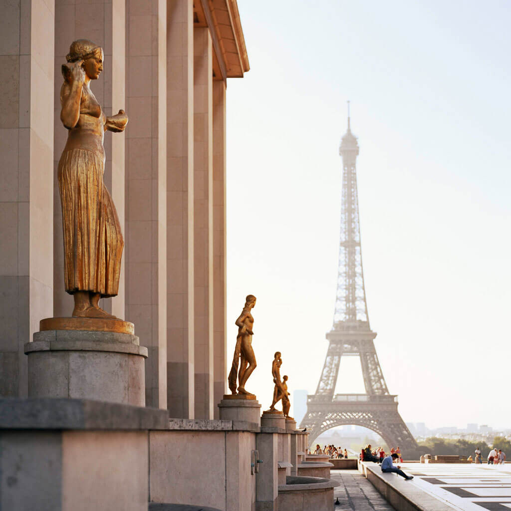 the view of the eiffel tower from the Trocadero in Paris