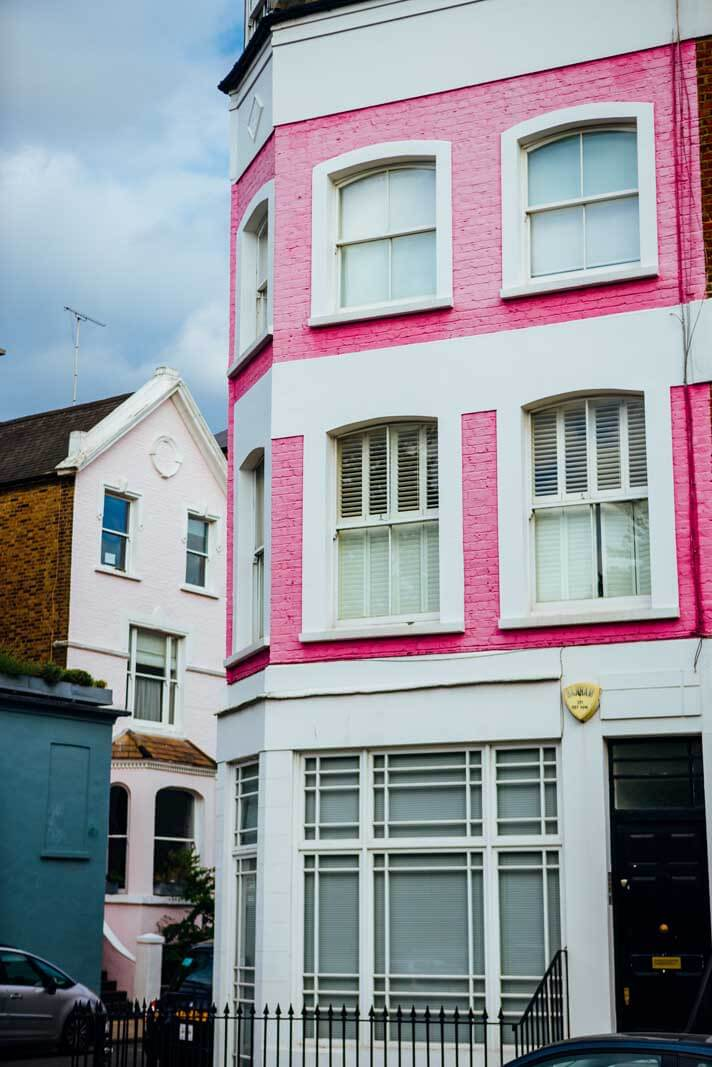 pink houses in Notting Hill London