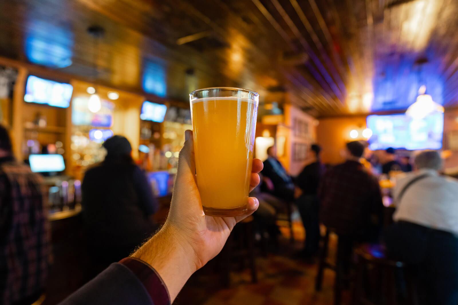 pint of beer in Portland Maine
