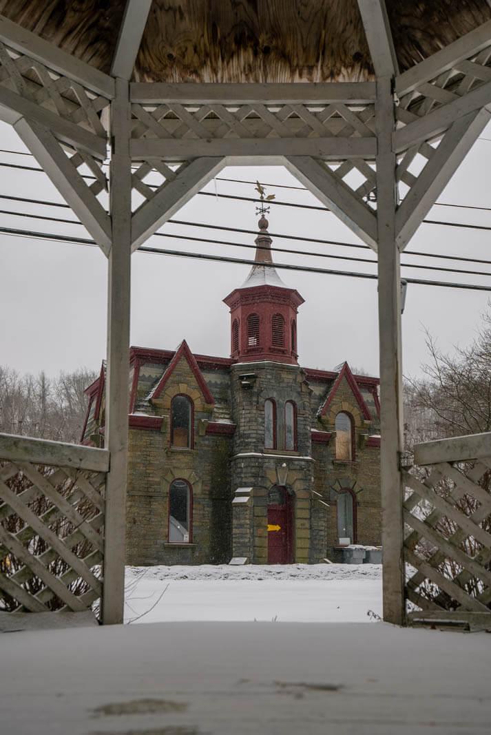 pretty gazebo and building in New Paltz New York in the Catskills