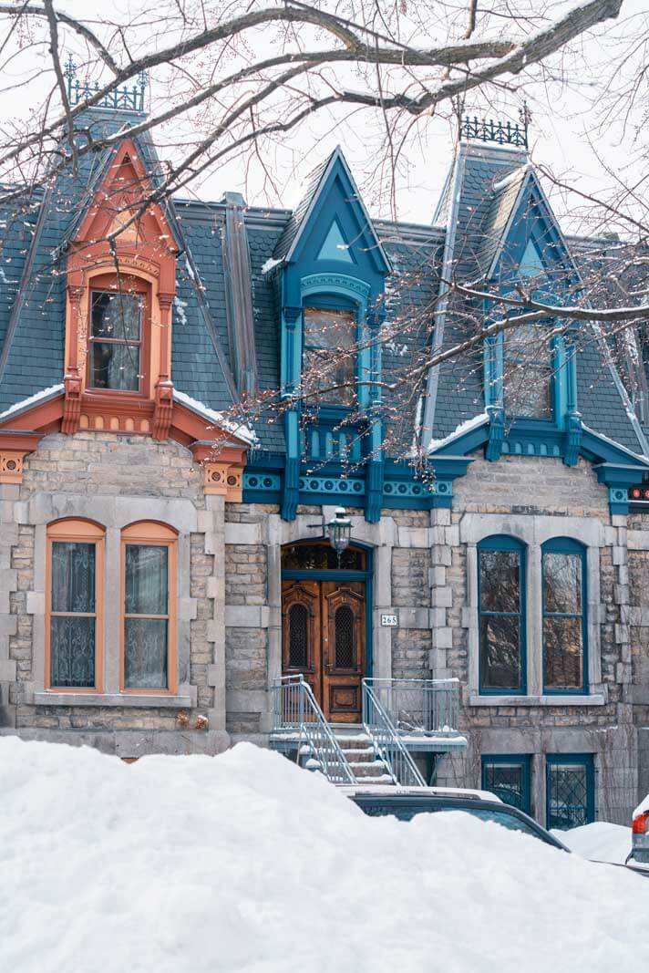 pretty houses in Saint Louis Square in Montreal