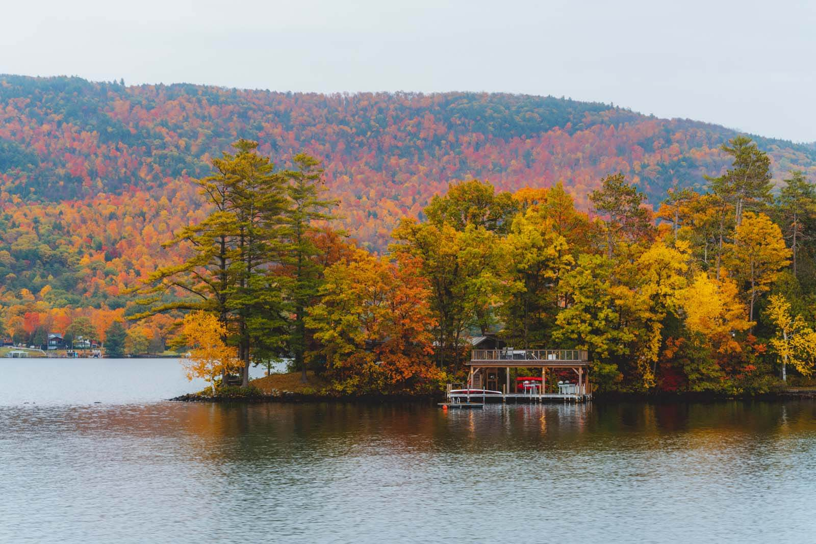 pretty lake george scene in the fall in new york adirondacks