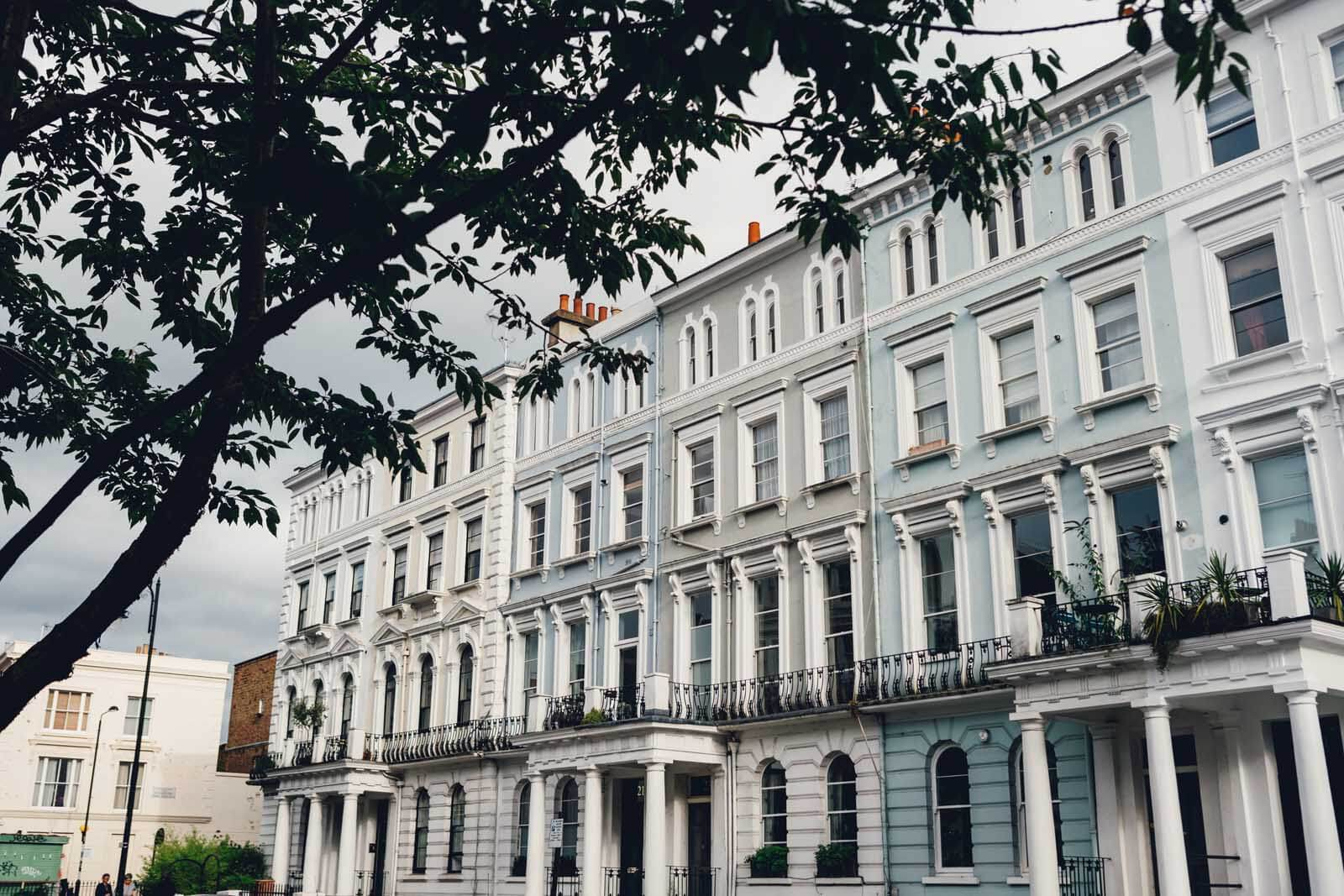 pretty row of homes in Notting Hill London