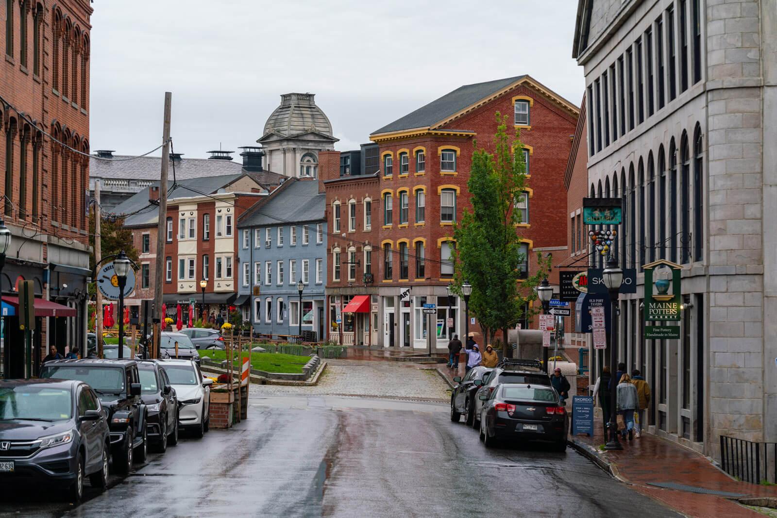 pretty street in Old Port Portland Maine