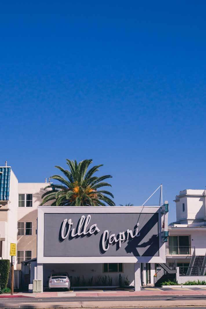 Villa Capri hotel exterior on Coronado in San Diego California