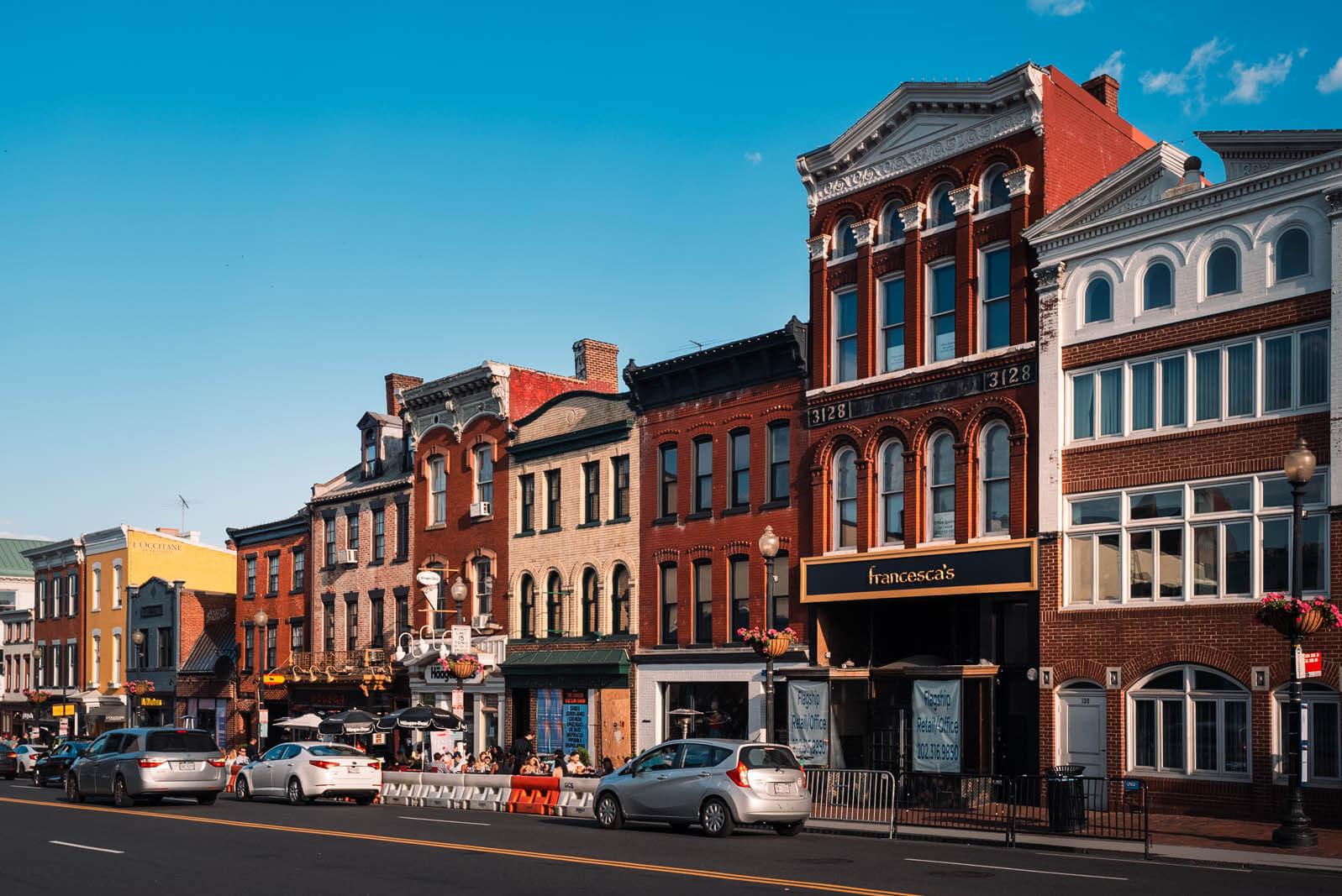 shops along Georgetown Washington DC
