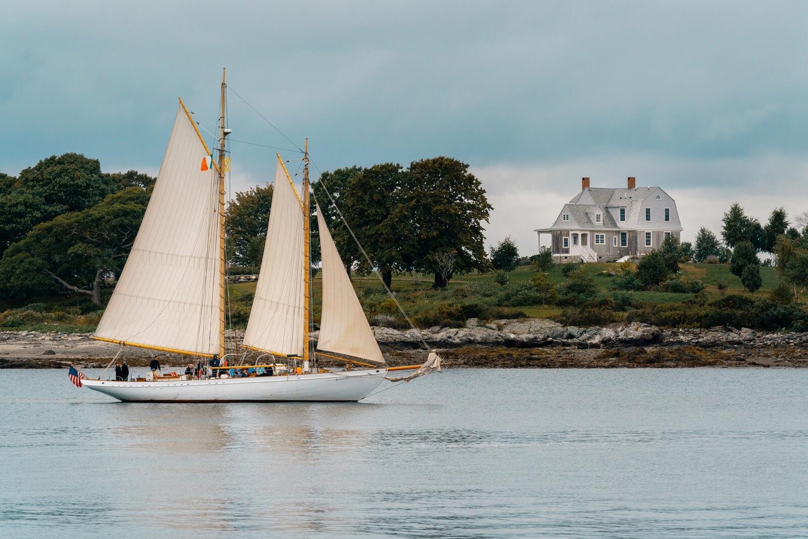 tall ship schooner sailing off of Peaks Island in Casco Bay in Portland Maine
