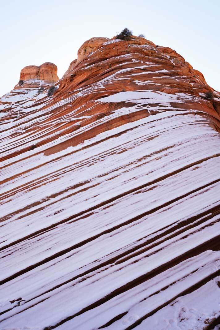 snow on a teepee in coyote buttes north