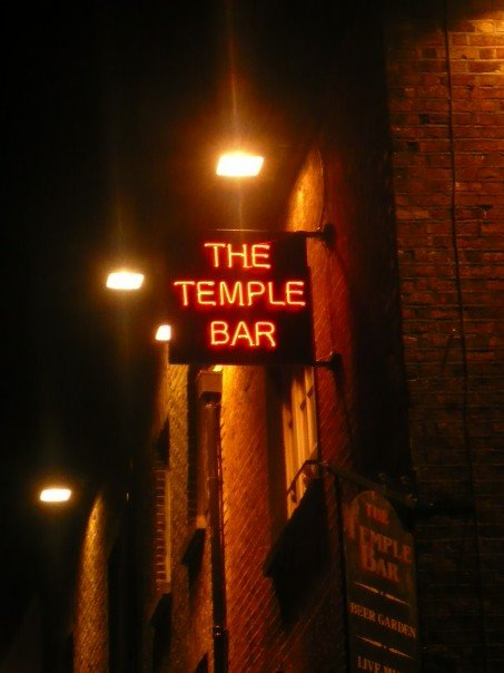 A picture of the temple bar sign in Dublin Ireland