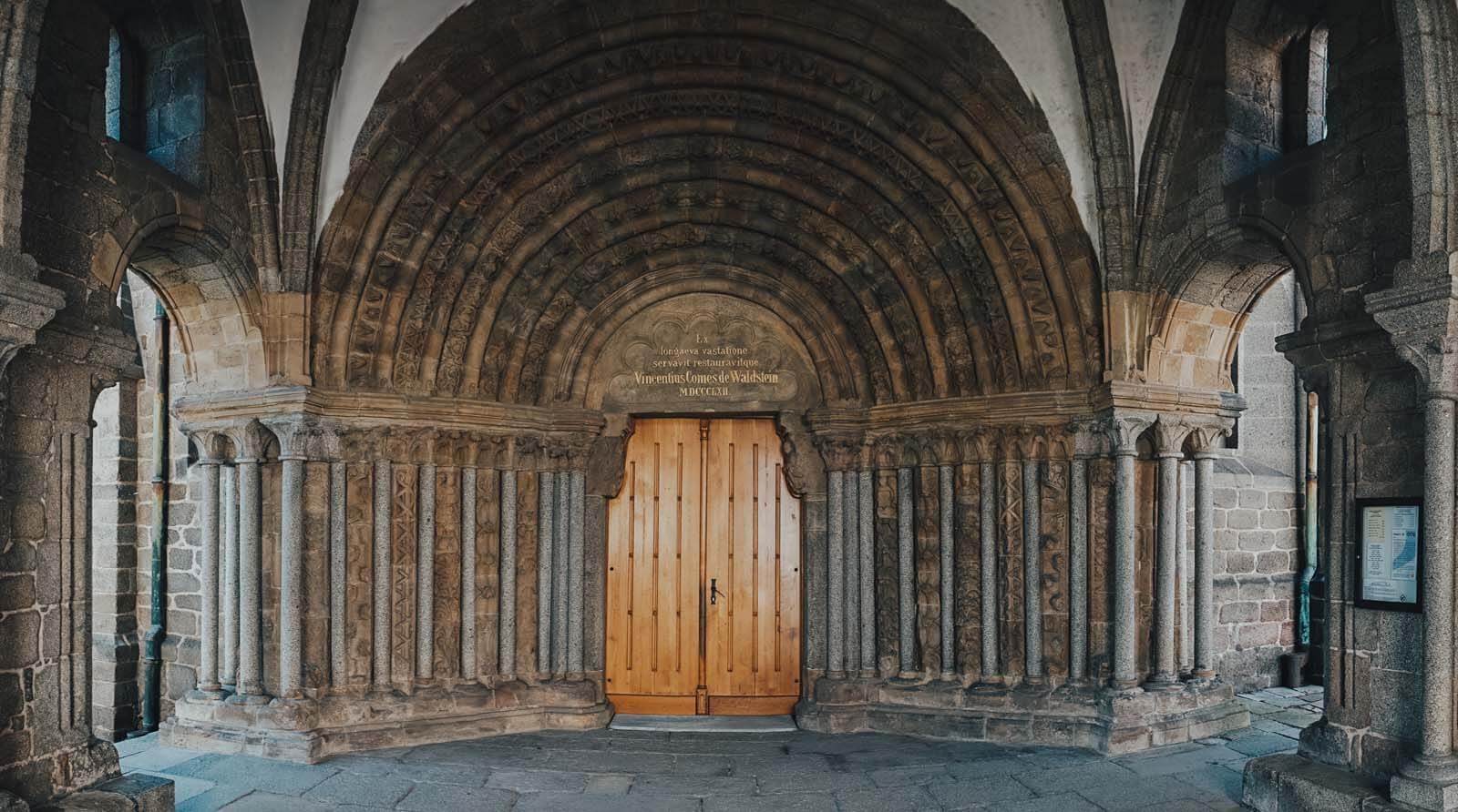 the entrance to St Procopius' Basilica in Trebic Czech Republic