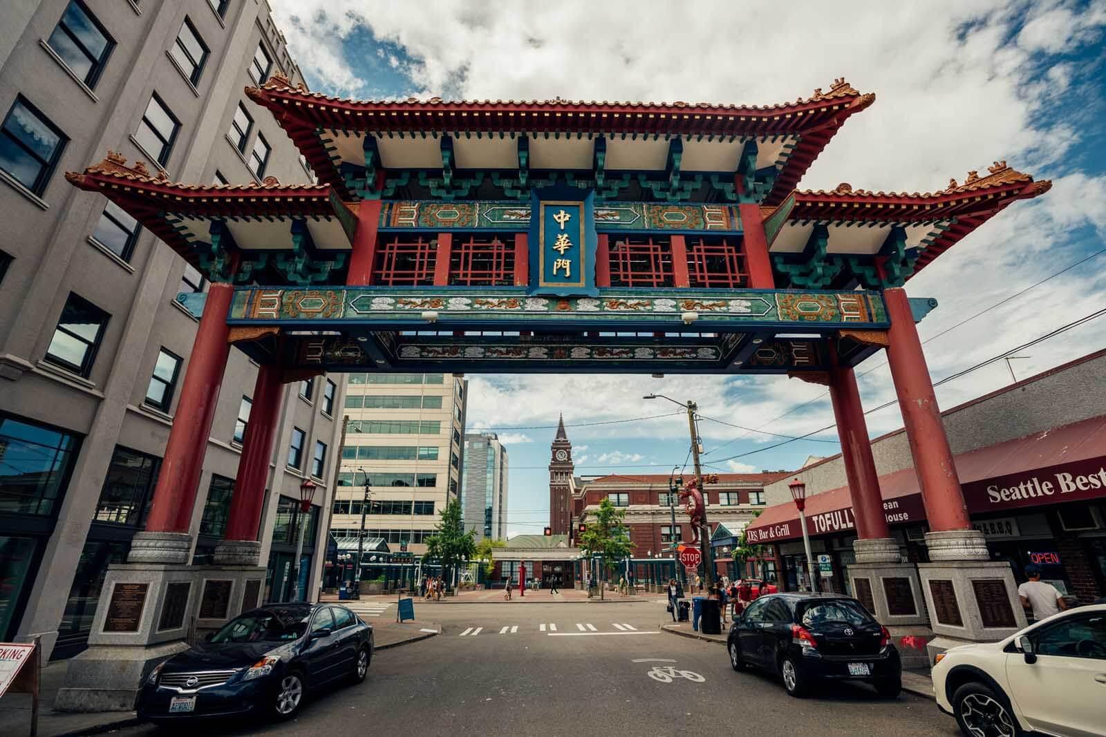 the gateway to Chinatown neighborhood in Seattle Washington