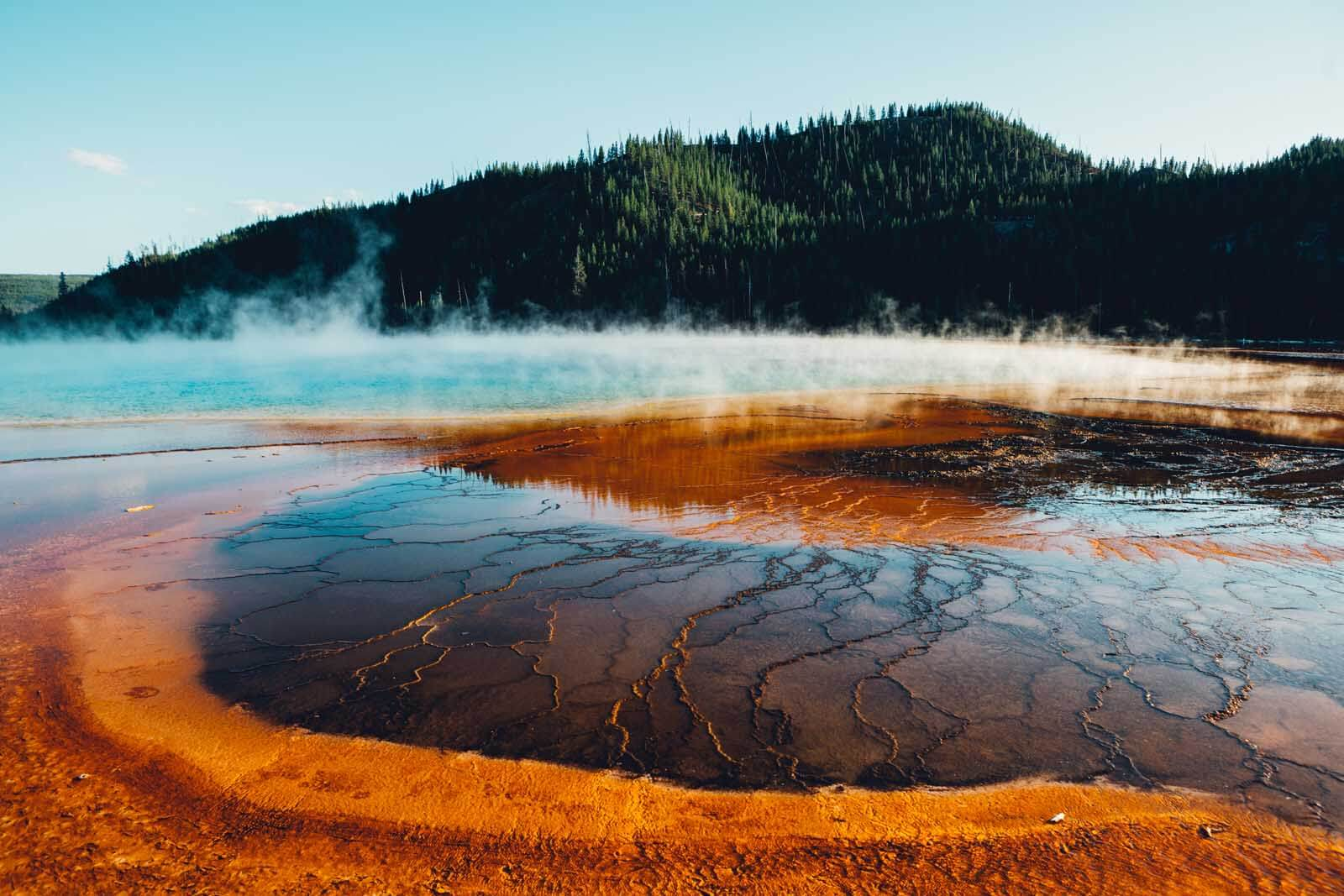 the psychadelic colors of Grand Prismatic Spring in Yellowstone National Park