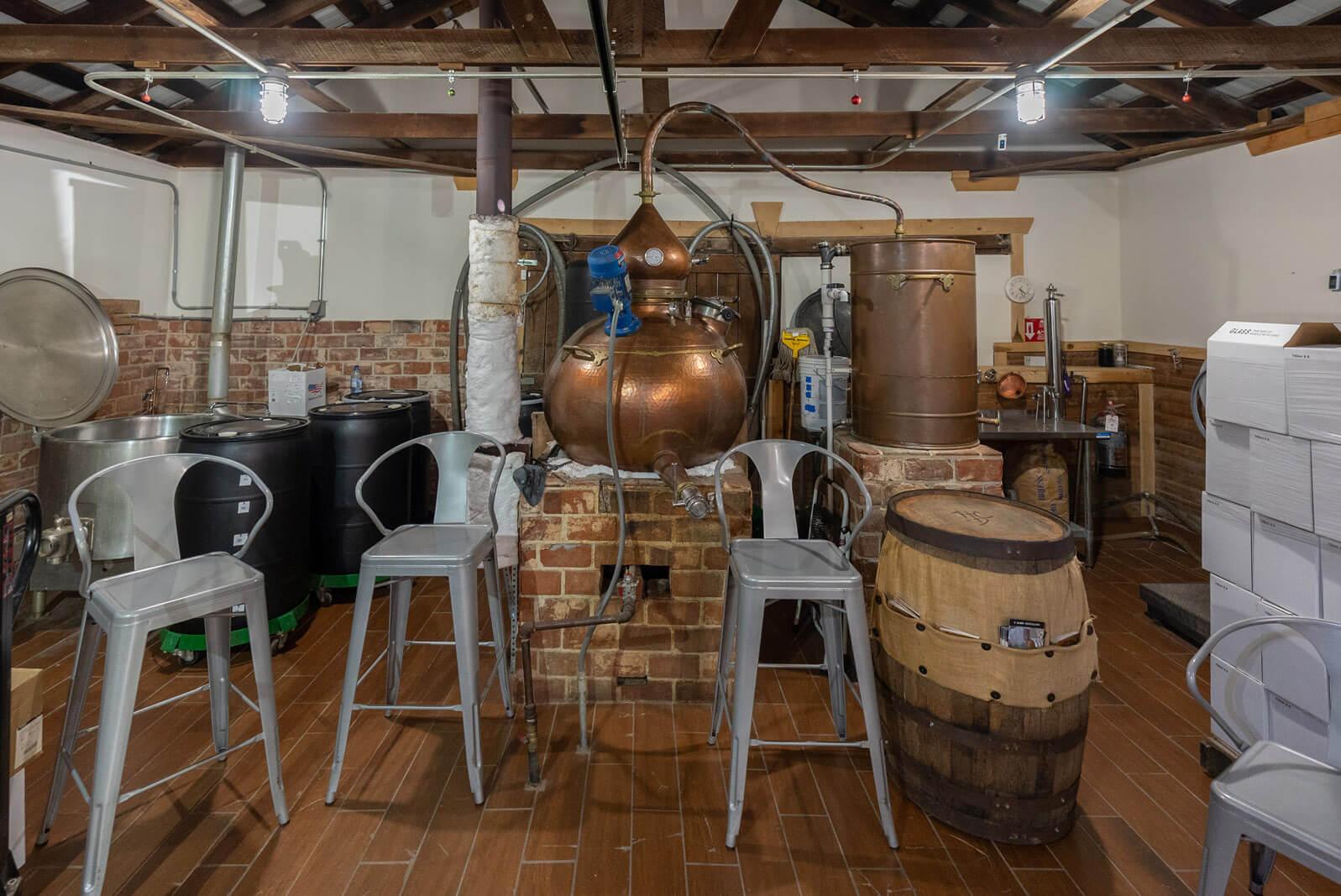 the small batch still at H Clark Distillery near Franklin Tennessee