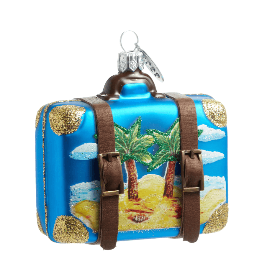 tropical vacation suitcase christmas ornament