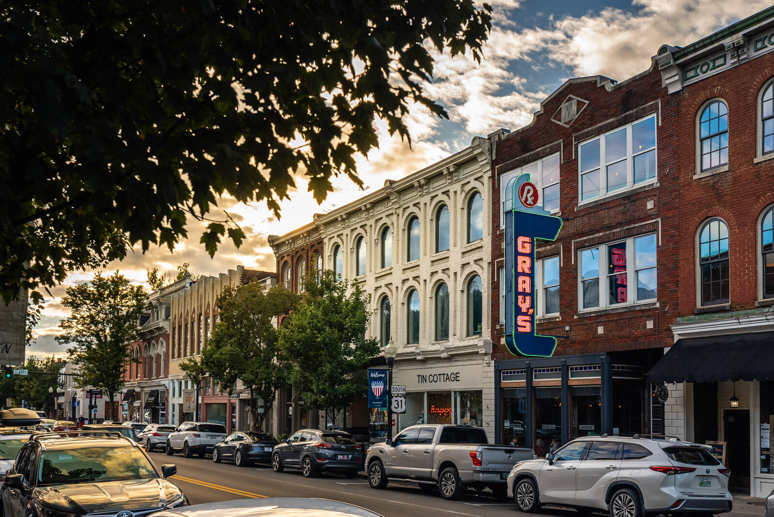 view down Main Street in Downtown Franklin Tennessee