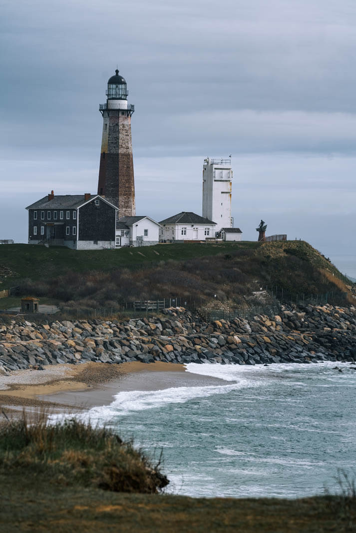 view of the montauk point lighthouse in the hamptons long island new york