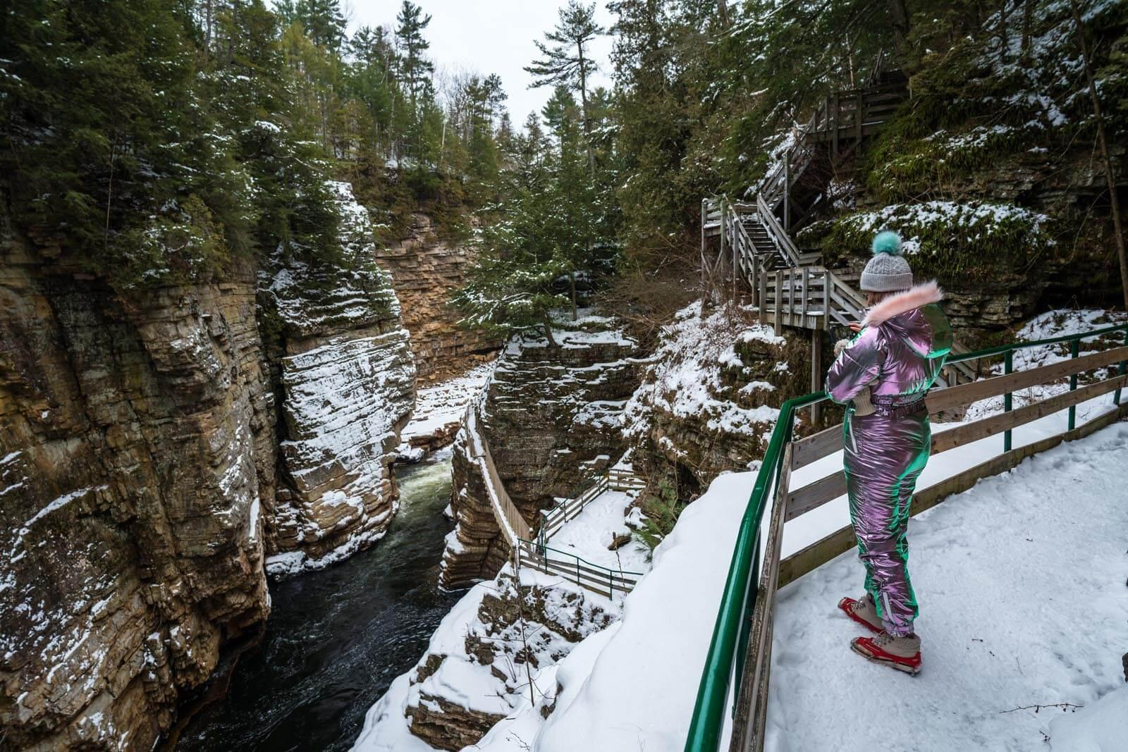 visiting ausable chasm in winter adirondcks in upstate new york